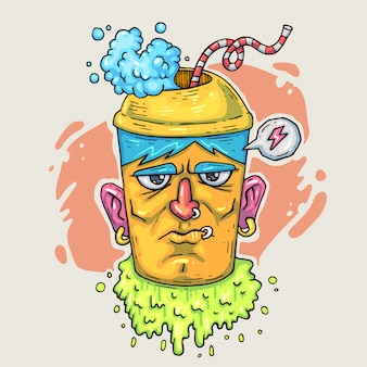 Cup for coffee with a face. cartoon illustration in comic trendy style.