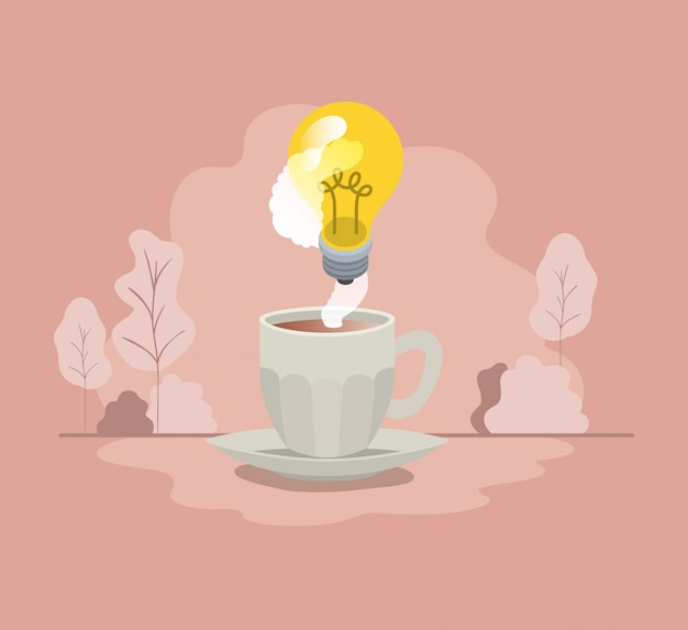 Cup of coffee with light bulb isolated icon