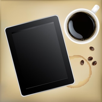 Cup of coffee with tablet computer,  illustration
