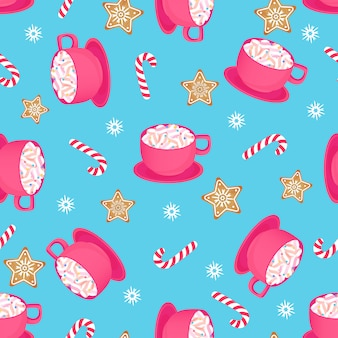 A cup of hot cocoa with candy cane and gingerbread star. seamless pattern for christmas
