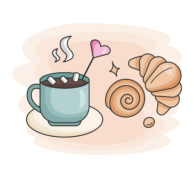 Cup of hot coffee fresh croissant and bun food icon for bars restaurants and shops