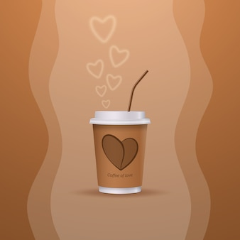 A cup of hot coffee of love. happy valentine's day.