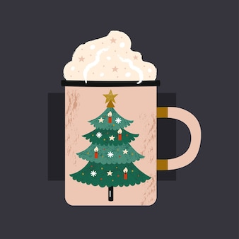 Cup of hot drink with christmas tree print.