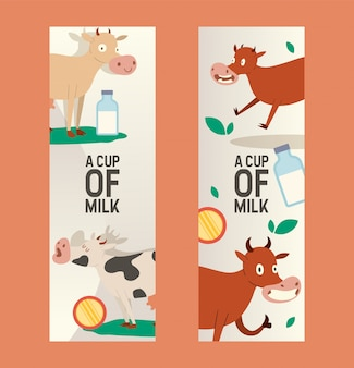 Cup of milk set of banners. curious cow eating grass with vacant look. funny baby animal, cattle saying moo. organic and natural diary products.