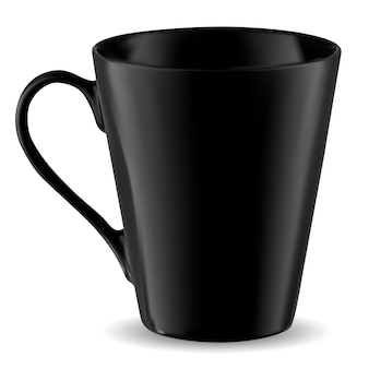 Cup mockup, black mug template isolated