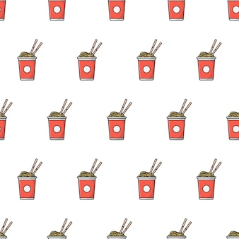 Cup of noodles seamless pattern  . oriental noodle food theme   illustration