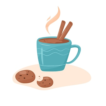 シナモンとチョコレートクッキーとカカオまたはコーヒーのカップ。ベーカリーとスパイシーな温かい飲み物。 Premiumベクター