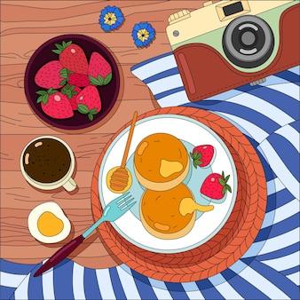 一杯のコーヒーと木製のテーブルにチーズケーキとプレート