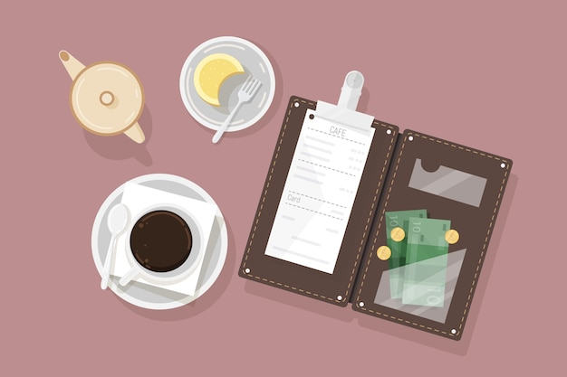 Чашка кофе, десерт на тарелке, сливки и открытая подставка для банкнот с ресторанным чеком и наличными деньгами