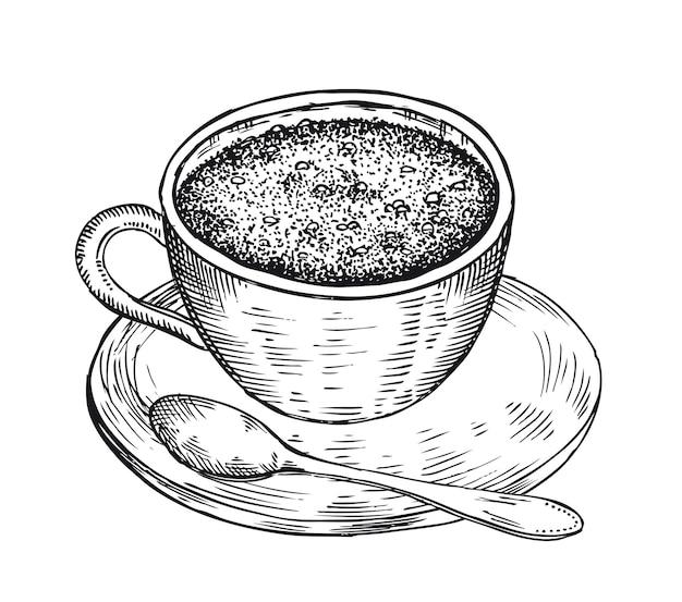 커피 한 잔 손으로 그린 그림