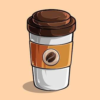 色付きの背景に分離された一杯のコーヒー