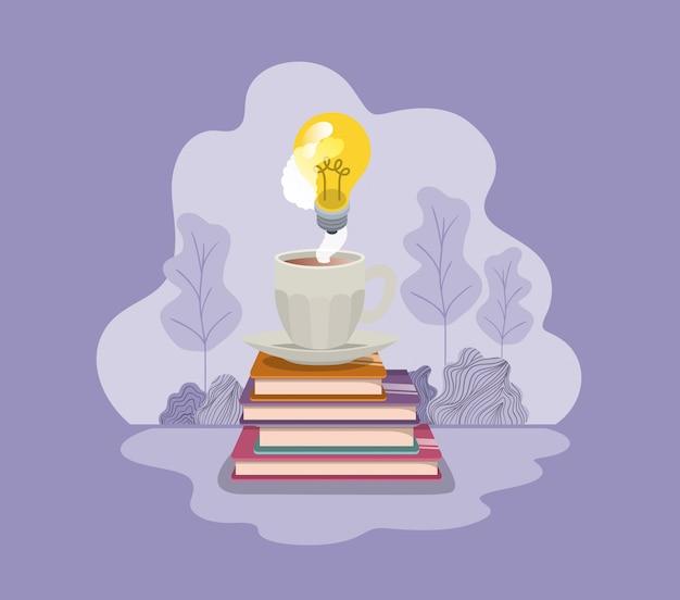 Чашка кофе с книгами и лампочка изолированный значок
