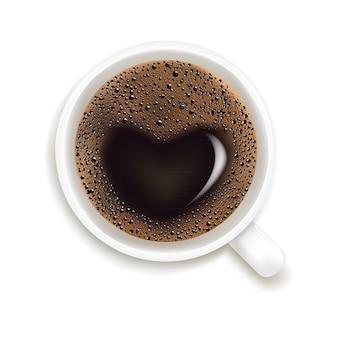 分離されたハートのイラストとコーヒーのカップ