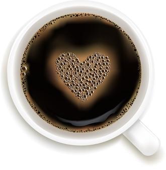 ハートのイメージ、白い背景、イラストのコーヒーカップ