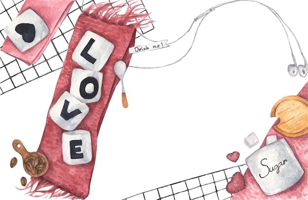니트 스카프, 헤드폰, 커피 콩 및 흰색 컵에 설탕 큐브, 텍스트 복사 공간 평면도에 사랑으로 커피 한잔. 평평하다. 사랑 개념. 수채화 그림.