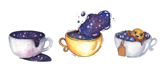 우주 우주 세트와 함께 커피 한잔. 흰색 바탕에. 수채화 그림.