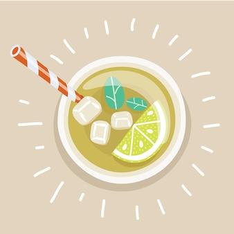ストローと冷たいアイスレモンティーのカップ