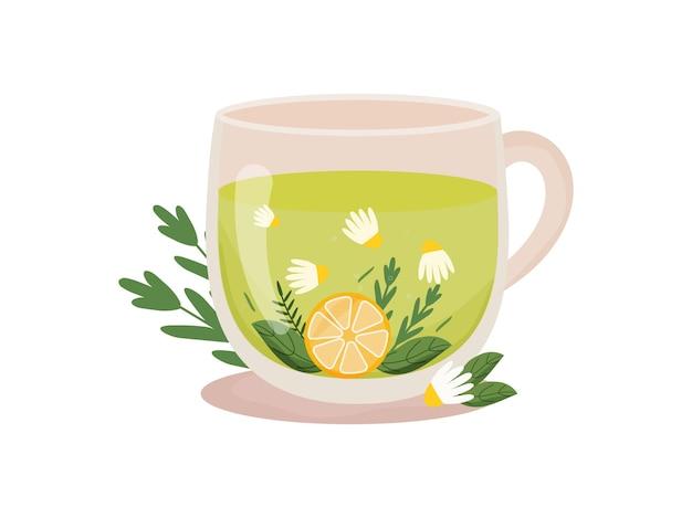 Чашка травяного чая. горячие напитки.