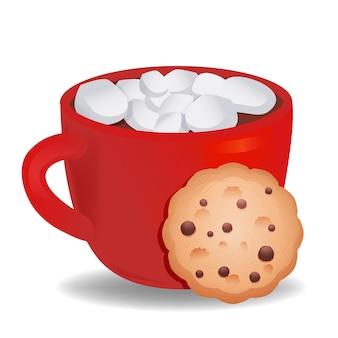 Чашка горячего шоколада и зефира с печеньем. векторная иллюстрация