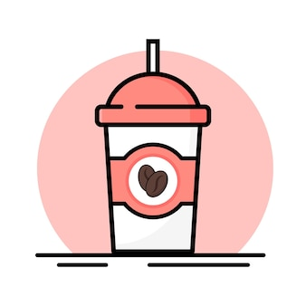흰색 바탕에 뜨거운 커피 한잔입니다. 아이콘 그림입니다.