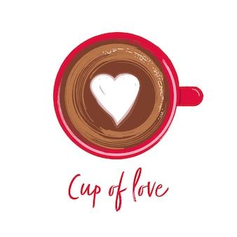 사랑의 컵. 커피 벡터 한 잔으로 글자.