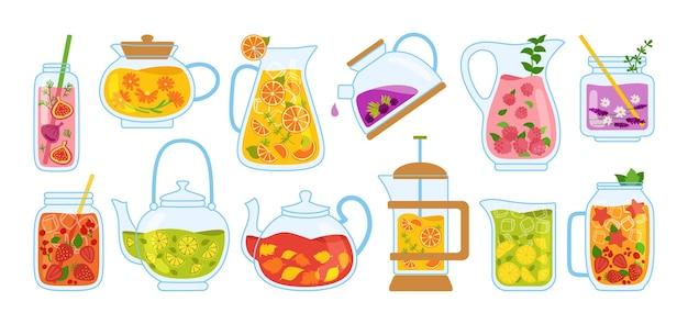 차와 칵테일 만화 세트의 컵. 티 타임 머그잔 주전자와 허브, 과일, 음료.