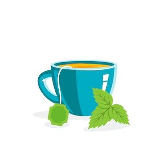 Чашка чая и листья, иллюстрация в плоском стиле