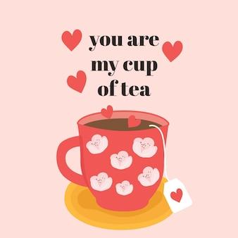 Чашка чая иллюстрация с цитатой