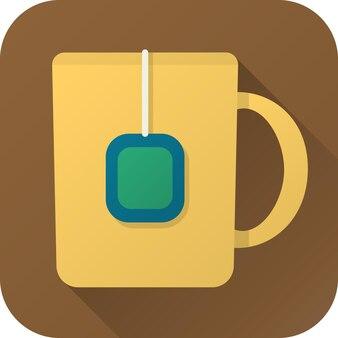Чашка чая в простом дизайне с длинной тенью вектор плоский значок