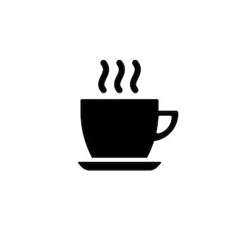黒のお茶やコーヒーのアイコンのカップ。孤立した白い背景の上のベクトル。 eps10。