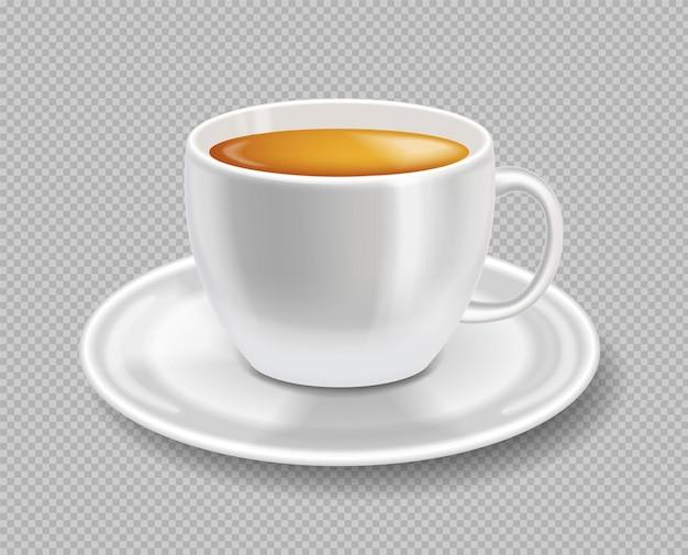 白いイラストプレートに分離されたリアルなお茶のベクトルのカップ