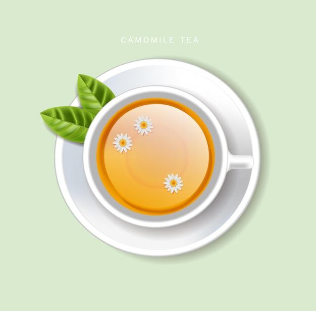 Чашка чая вектор реалистично. вид сверху 3d иллюстрации