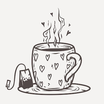 Чашка чая с мешком сердца.