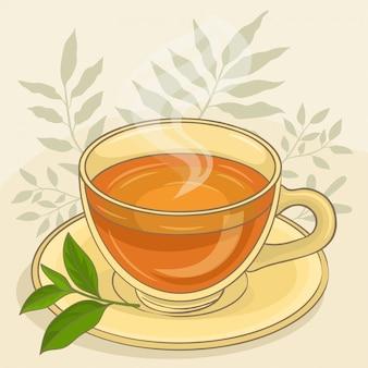 葉とお茶のカップ