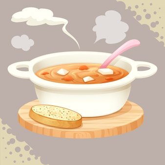 A cup of soup and garlic bread vector