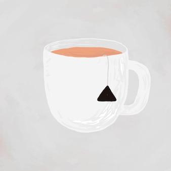 Stile disegnato a mano sveglio di vettore dell'elemento della tazza di tè