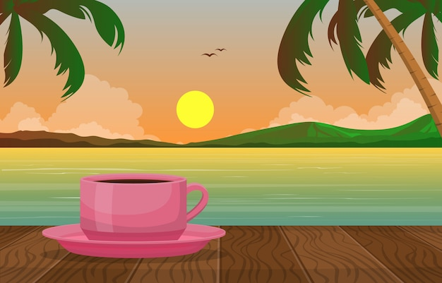 A cup of tea lake tropical beach sunset view illustration