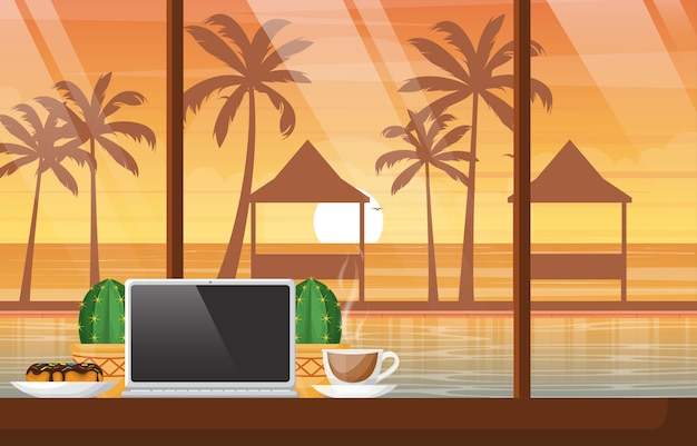 A cup of tea on table with laptop in bali beach cafe sunset illustration