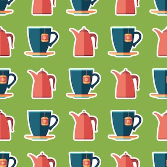 Cup of tea and teapot flat art seamless pattern.