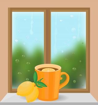 Cup of tea at the window vector illustration. autumn seasonal