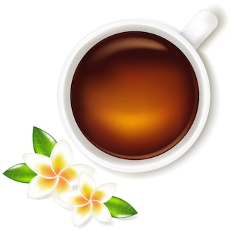 Cup of tea with frangipani, isolated on white background,