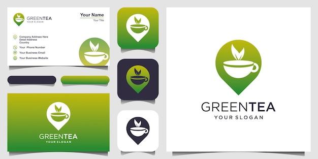 Cup of tea with pin location logo design element and business card design tea house vector design
