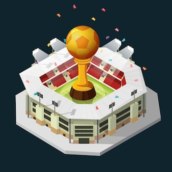 Cup trophy golden football and field isometric background night.
