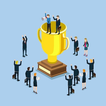 Cup trophy successful winner flat 3d business success