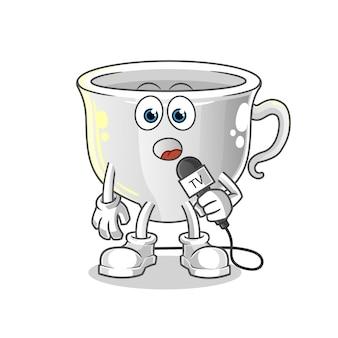 Cup tv reporter cartoon mascot. cartoon mascot mascot