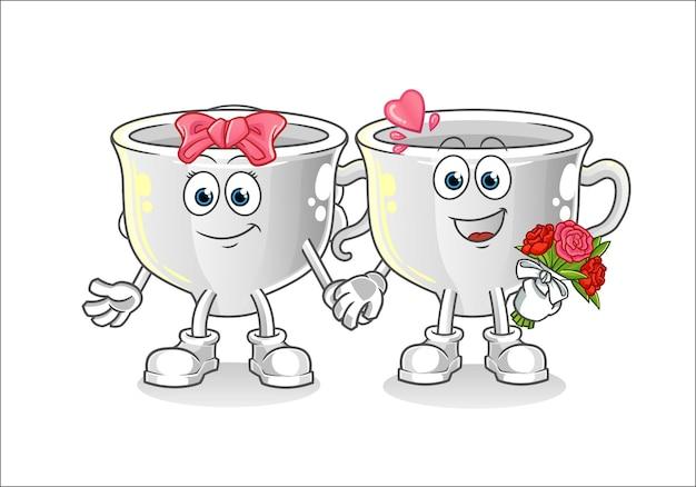 カップの結婚式の漫画のマスコット。漫画のマスコットマスコット