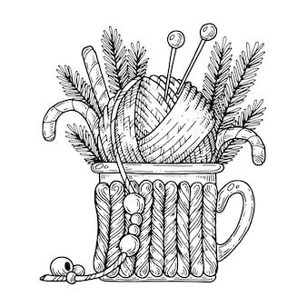 Чашка с клубком из вязальной нити