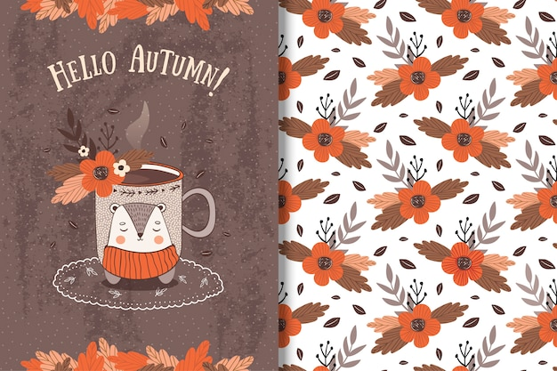 Cup with autumn leavescard and seamless pattern