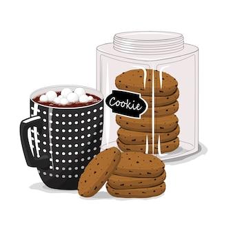 孤立した白い背景の上のコーヒーとクッキーとカップ。朝ごはん。おはようございます。