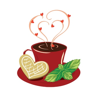 Cup with a cookie, mint and a steam in the shape of hearts